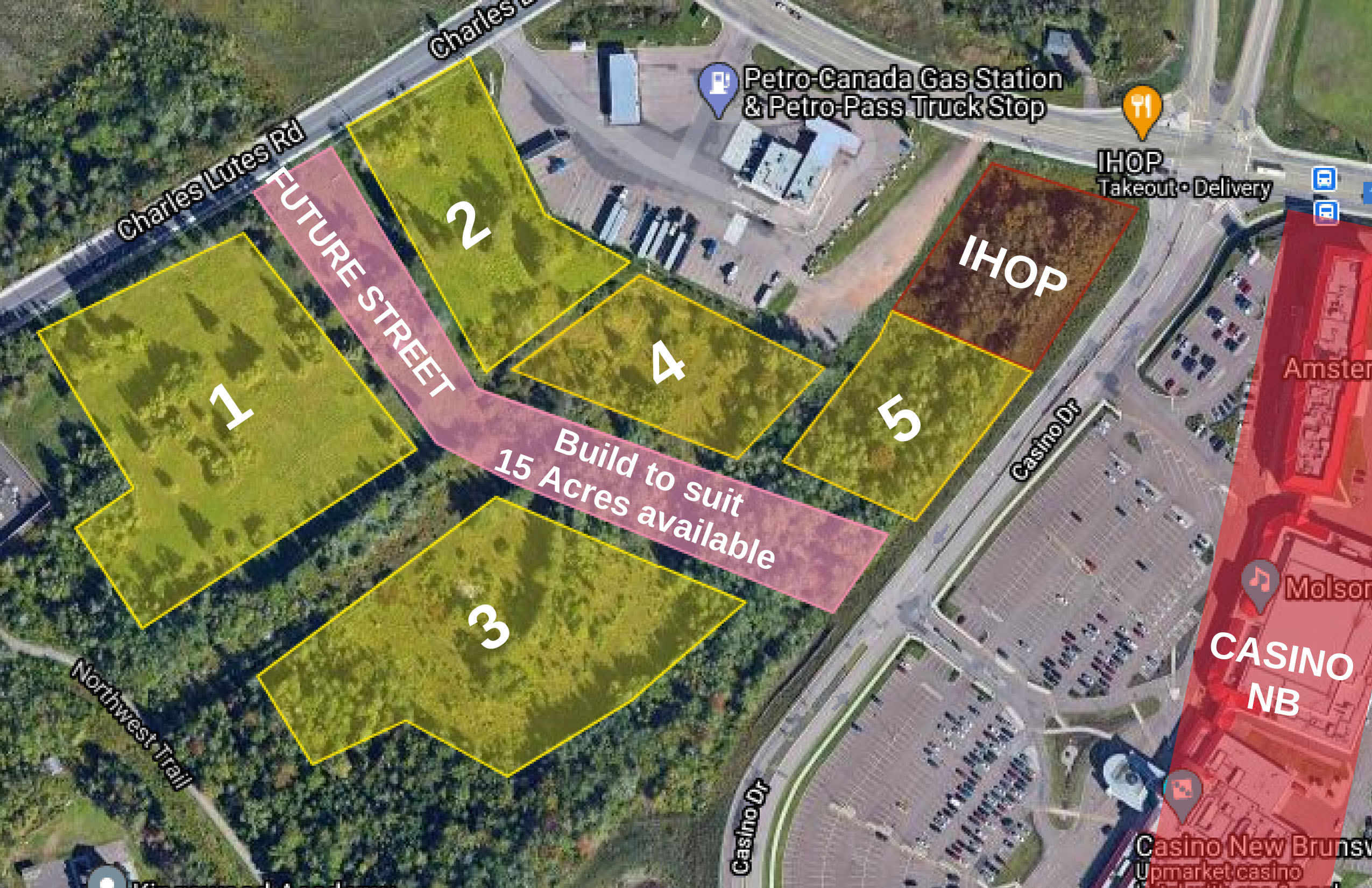 map view of future build to suit locations near Casino Moncton