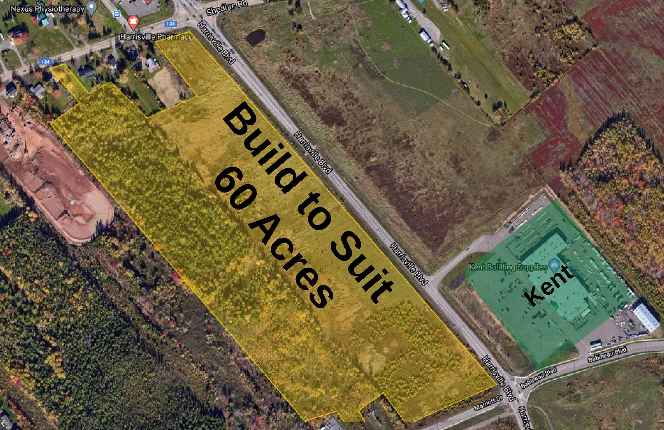 map view of future build to suit locations near Harrisville Blvd